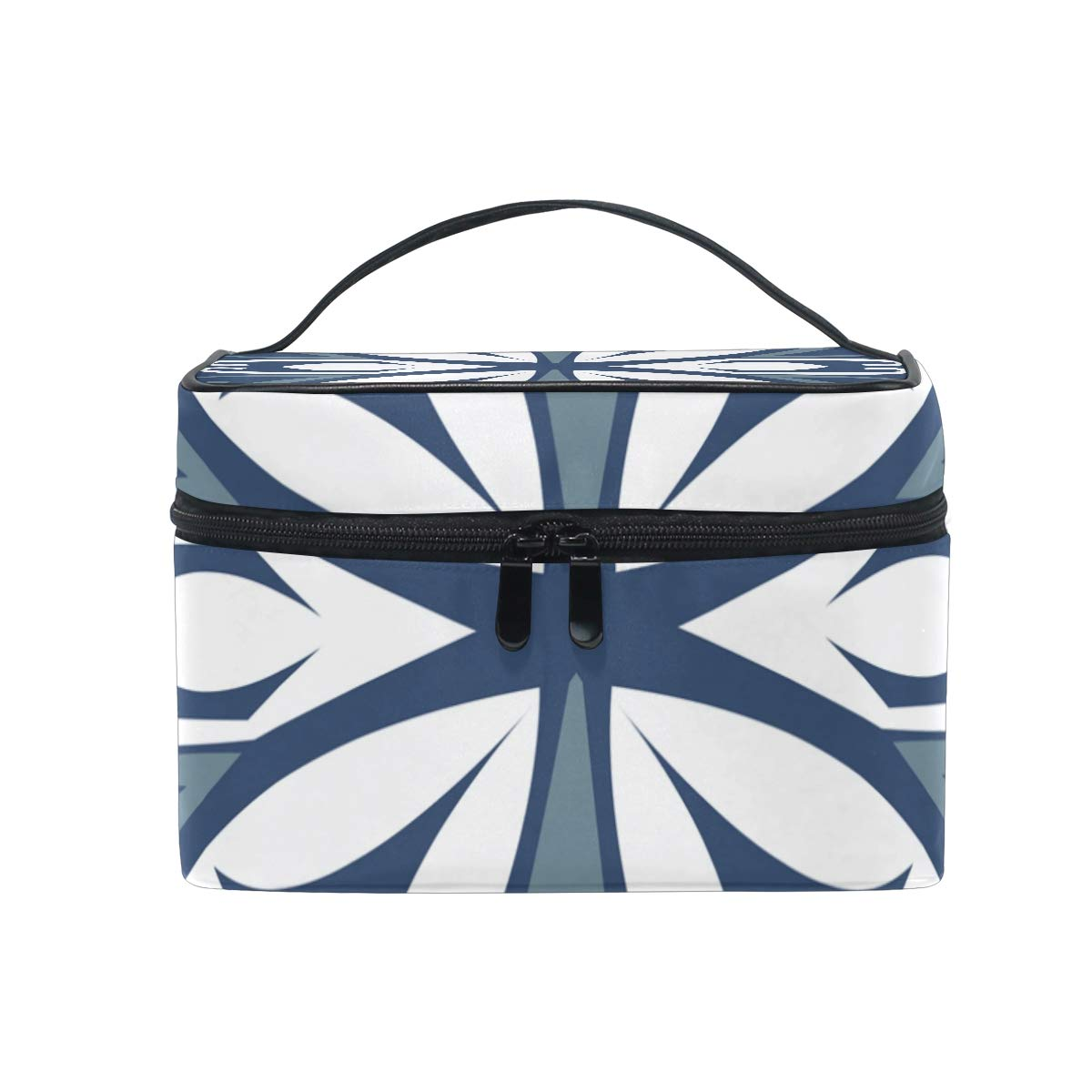 Amazon Com Portable Blue Abstract Floral Travel Cosmetic