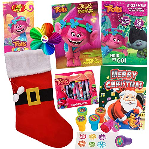 ColorBoxCrate DreamWorks Trolls Stocking Stuffer Coloring Book Toy Set, 8 Pack, Includes Trolls Activity Books, Trolls Crayons, Trolls Stickers, Trolls Candy, Stampers, Santa Book Children Ages 3-8