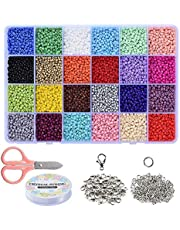 Braleto 24 Kleuren Glas Losse Rocailles Kralen,voor Sieraden Maken voor Kinderen, DIY Armband Decoratie Arts and Crafts Kit(3mm Met kunststof opbergdoos)