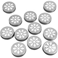 12 pcs Pewter Daisy Mason Jar Lid with Straw Hole Hollow flower Cover Great for Kids & Adult Drinks, Fits Regular Mouth Jars