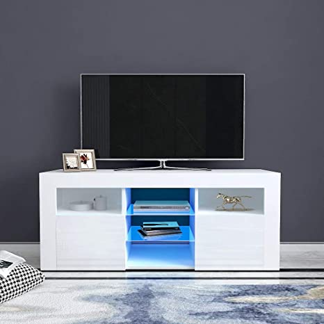 Amazon Com Okbop Entertainment Center Tv Stand With Lights For 55 50 65 Inch Tv Mid Century Living Room Bedroom Tv Storage Cabinet Media Console With Shelves Drawers Modern Wood Sofa Coffee Table