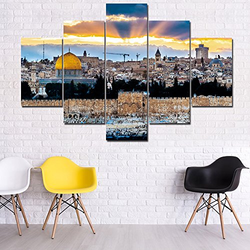 (Extra Large Jerusalem Oil Painting HD Prints on Canvas 5 Piece Wall Art,Temple Mount in Israel Posters and Prints Artwork Pictures for Living Room-Framed Gallery-Wrapped Ready to Hang(60''Wx40''H))