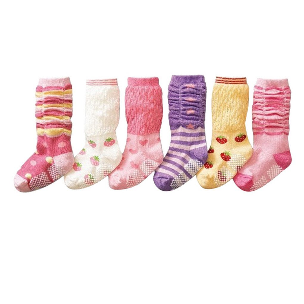 Happy Cherry - (Pack de 6 pares) Calcetines Zapatos Gruesos Antideslizantes para bebé s niñ os niñ as 0-24 meses - 12cm ZZBK051400
