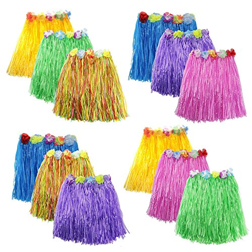 Zilong 12 Pack Elastic Hawaiian Grass Hula Skirt Dance Dresses luau Party Favors]()