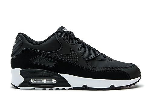new concept edab3 405e4 Nike Youth Air Max 90 Black White Leather Trainers 36.5 EU