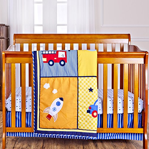 Dream On Me On The Go 3 Piece Reversible Full Size Crib Set - Fire Truck Fitted Crib