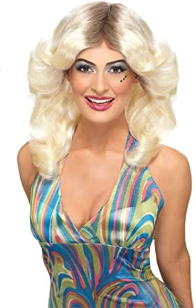 Long One Size Smiffys 70s Flick Wig Wavy /& Layered Female Blonde