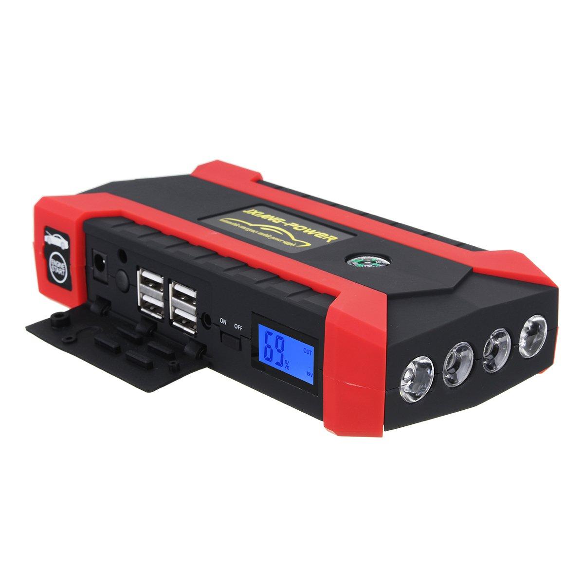 HITSAN 89800 mAh 12V 4 USB Car Jump Starter Pack Booster Charger Battery Power Bank Kit One Piece