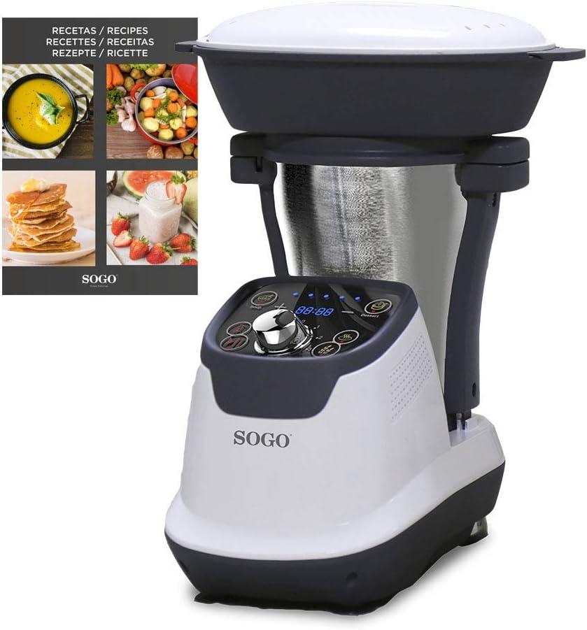 SOGO SS-14545 Robot de Cocina Multifunción, Con Libro de Recetas, Jarra Acero Inoxidable 1,75 Litros, Vaporera 2 Litros, 1200 W, Libre de BPA: Amazon.es: Hogar