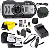 Ricoh WG-5 GPS Digital Camera (Gunmetal) 04653 + D-LI92 Battery + External Charger + Case + Mini HDMI Cable + Floating Strap + Card Reader + Memory Card Wallet Saver Bundle