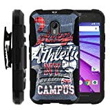 MINITURTLE Case Compatible w/ Moto G (3rd Gen) Case, Moto G 3rd Generation (2015)| [Clip Armor] Impact Hard Rubber Durable Unique Creative Cover + Belt Clip Blue College Sports