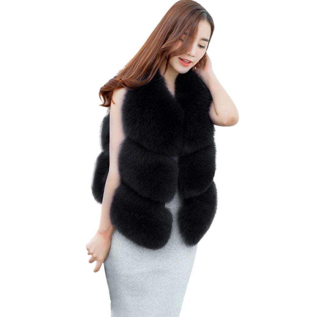 Sonnena Mujer Invierno Faux de piel de zorro chaleco chaleco Chaqueta abrigo corto chaleco outwear n...