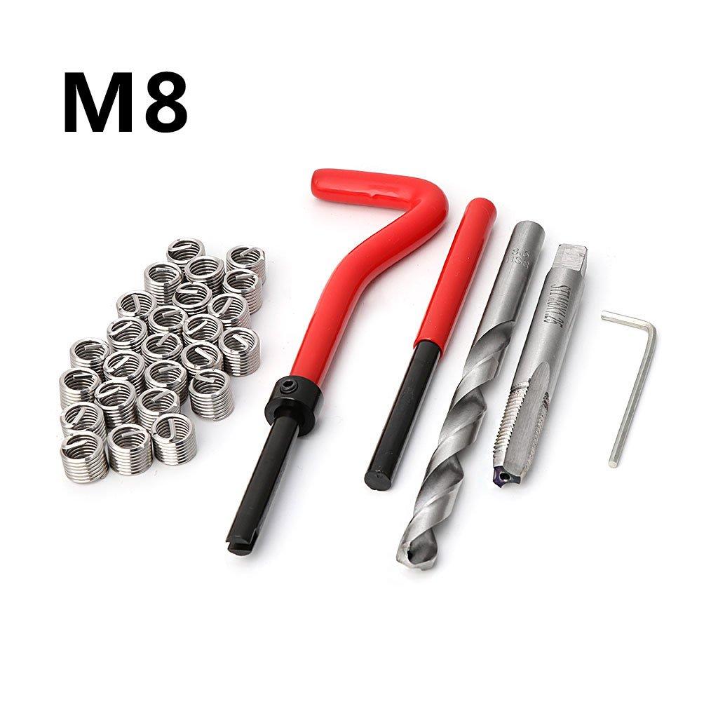 30-teiliges M8 Gewinde-Reparatur-Set f/ür Auto-Reparatur Handwerkzeug-Set f/ür Auto-Reparatur.