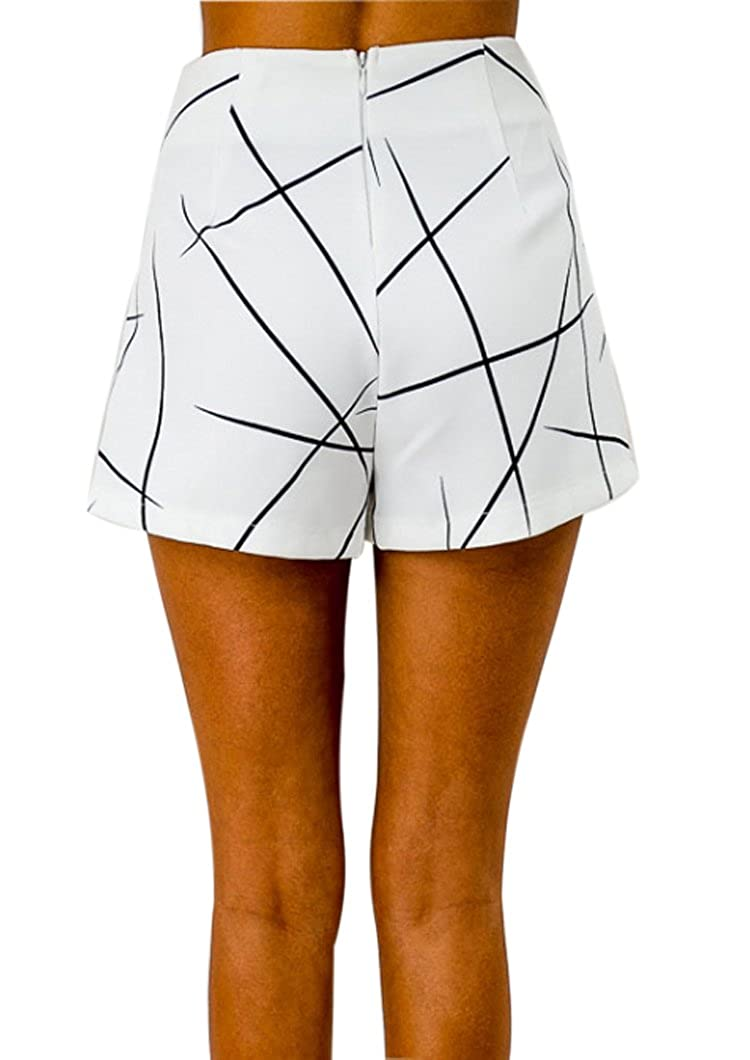 RUIGO  /® Womens High-Waisted Boho Asymmetrical Hem Print Skirt Shorts Skort