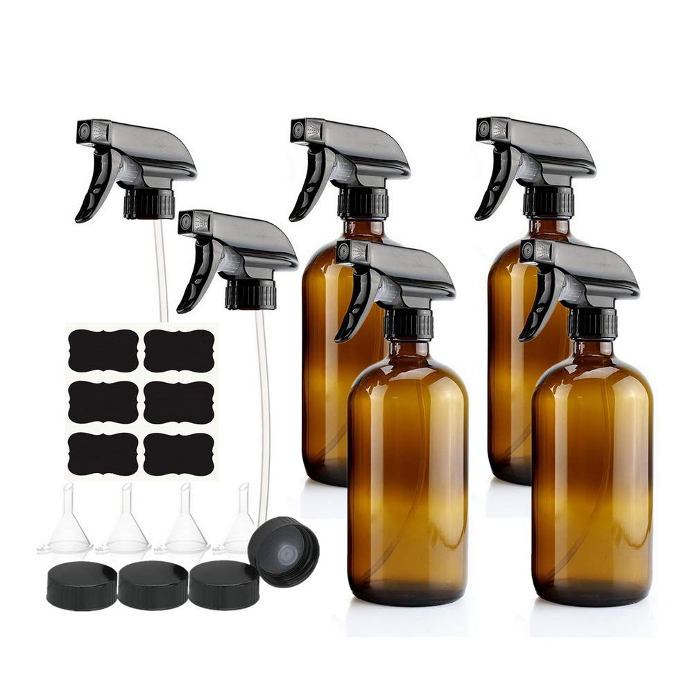2pcs Spray Bottle With Black Trigger Empty Amber Glass Spray Water Bottle 500ml