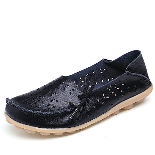 Womens Hollow Out Carving Leather Driving Moccasin Flat Loafers Casual Shoes