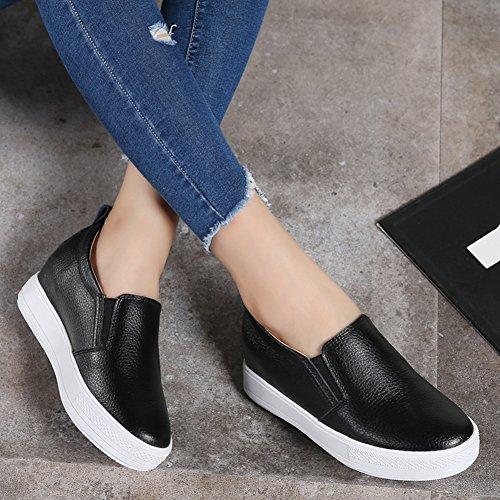 T-july Femmes Bout Rond Penny Loafer Chaussures Augmenté Caché Talon Mode Casual Chaussures De Marche Noir