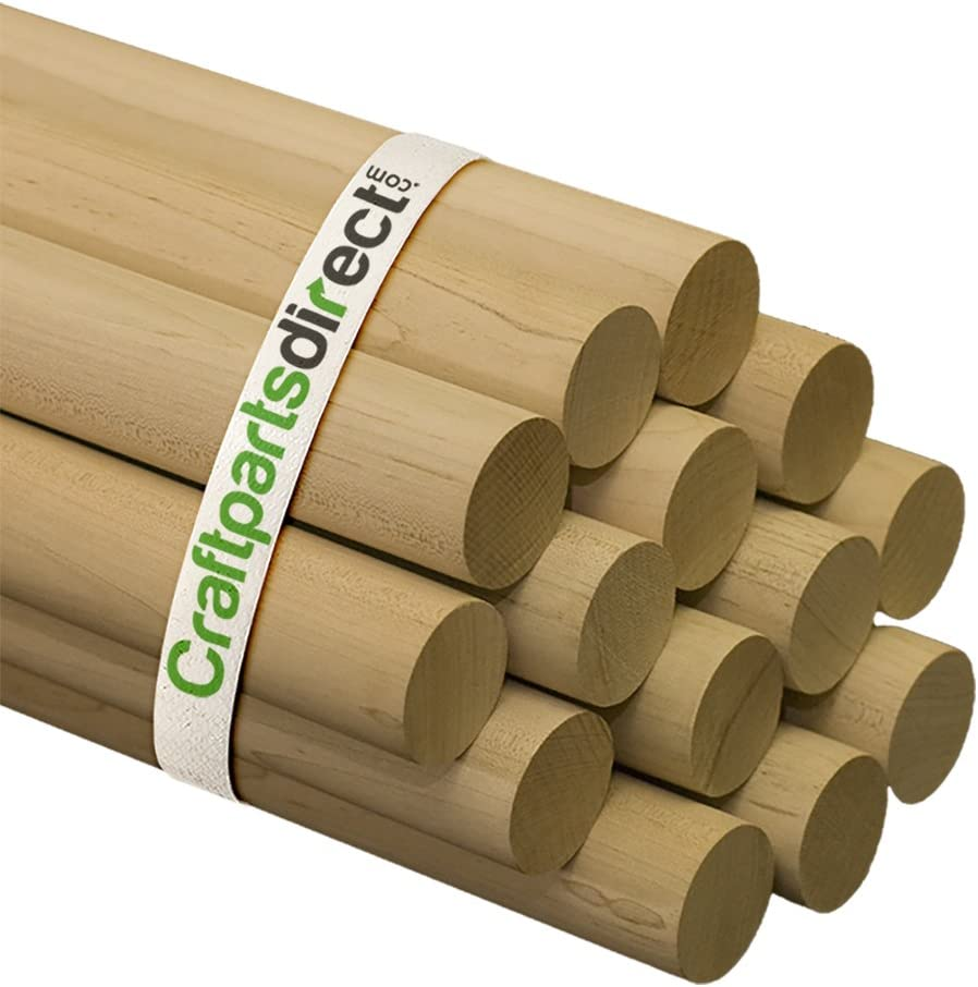 "Wooden Dowel Rods - 1-1/2"" x 36"" Unfinished Hardwood Sticks - for Crafts and DIY'ers - Craftparts Direct - Bag of 2"