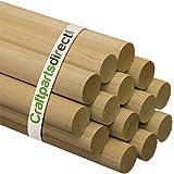 "Wooden Dowel Rods - 1-1/2"" x 36"" Unfinished Hardwood Sticks - For Crafts and DIY'ers - Craftparts Direct - Bag of 2"