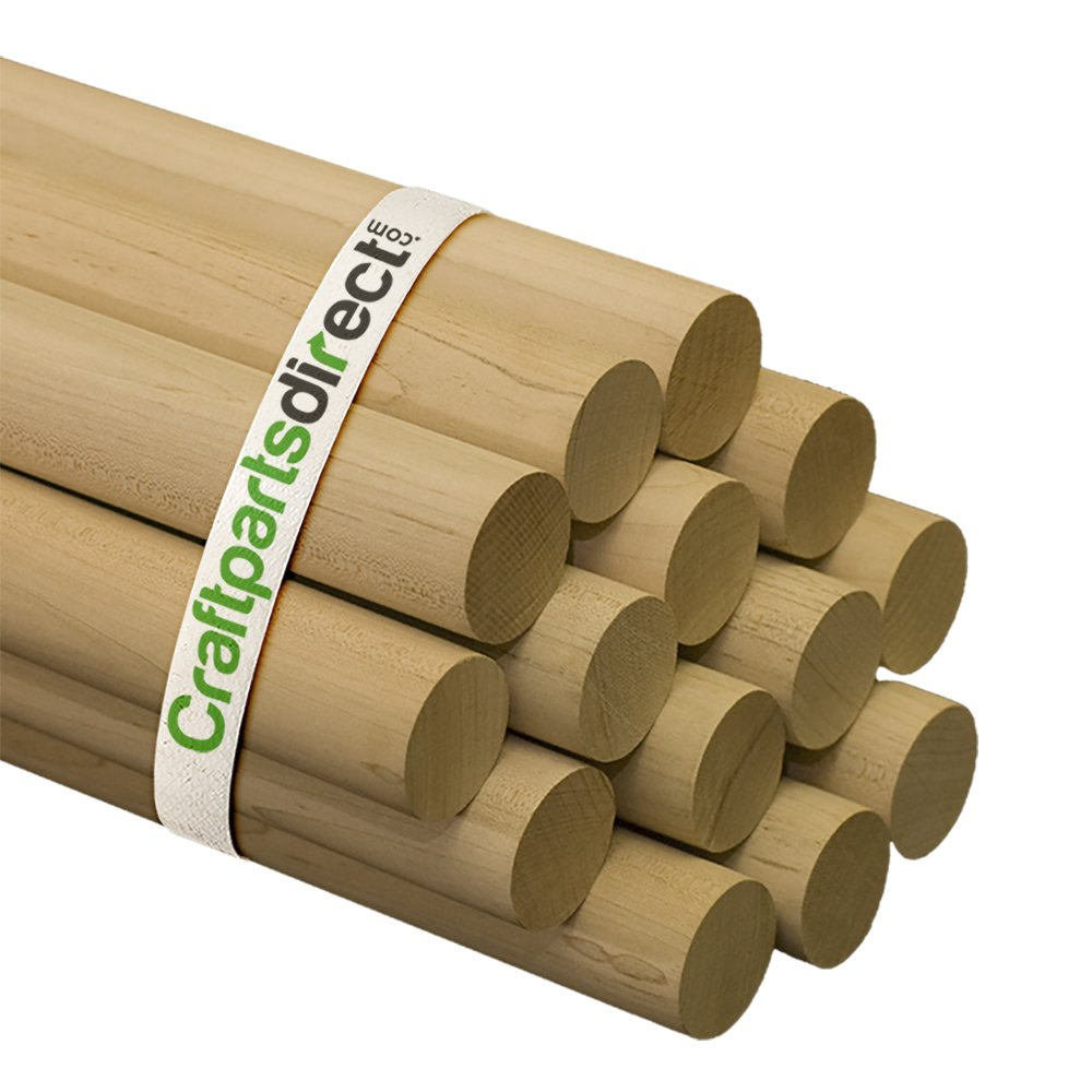 Wooden Dowel Rods - 1-1/2'' x 36'' Unfinished Hardwood Sticks - For Crafts and DIY'ers - Craftparts Direct - Bag of 25
