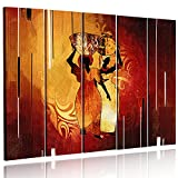Feeby. Multipart Canvas - 5 panels - Wall Art Picture, Image Printed on Canvas, 5 parts, Type C, 100x70 cm, AFRICA, WOMAN, JUGS, BROWN, ORANGE
