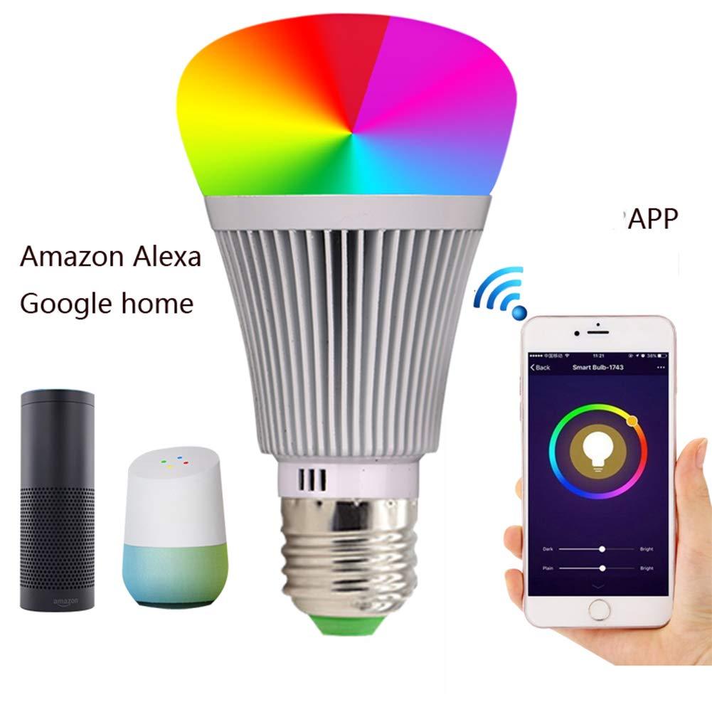 QAZ WiFi Luz Inteligente E27 E14 B22 RGB 11w Regulable Compatible con Alexa y el Control Remoto Asistente de Google por Smartphone iOS y Android No se Requiere hub