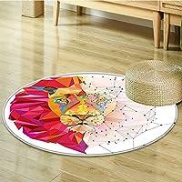 Non Slip Round Rugs Lion Head Art Graphic in Triangle RainbowWhite Pink Orange Oriental Floor and Carpets-Round 47