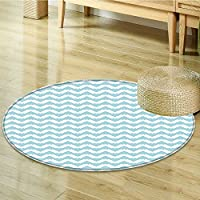 Round Area Rug Carpet Retro Artistic Design Zigzags Snowy Mountaintop White Living Dining Room Bedroom Hallway Office Carpet-Round 39