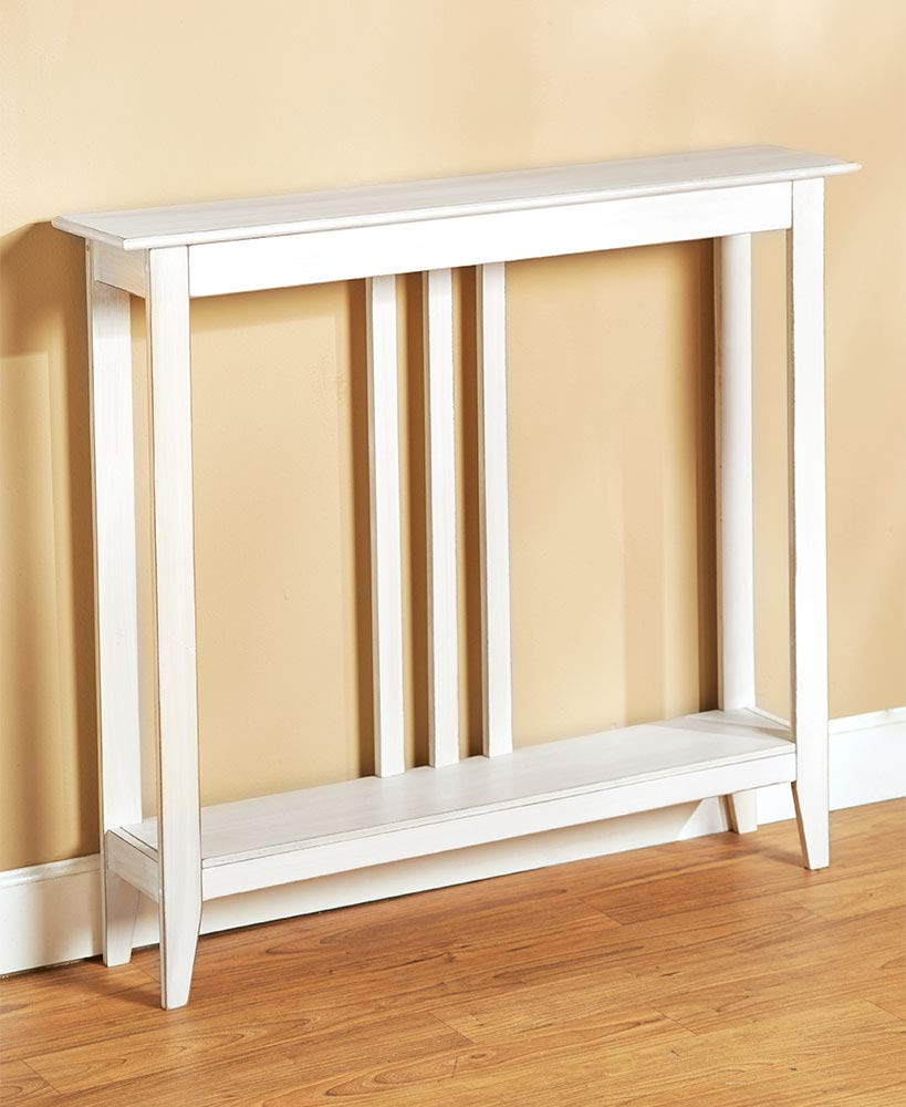 Slim Entry Table - Space-Saving Accent Table with Distressed Finish - White by The Lakeside Collection