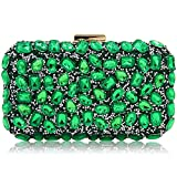 Stunning Rhinestone Party Clutches Cocktail Crossbody Evening Bags For Women (Green)