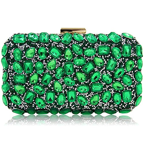 Stunning Rhinestone Party Clutches Cocktail Crossbody Evening Bags For Women (Green) by Mystic River