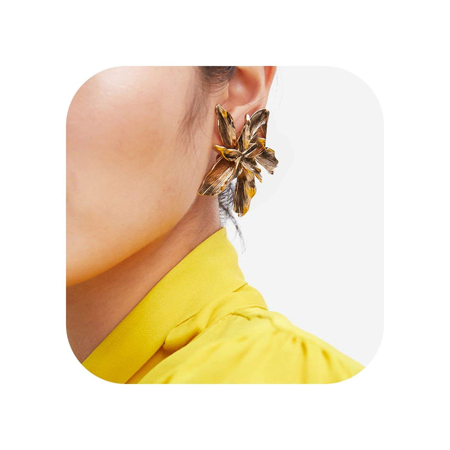 Bluecandy Gold Silver Flower Shape Stud Earrings Big Multi-Layer Statement Holiday Metal Star Jewelryy For Women