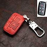 (Only For Keyless Entry 5 Buttons Smart) Leather Interior Accessories Remote Key Fob Holder Chain Case Bag 1PCS For Jaguar XE X760 15-18 XF X260 F-PACE X761 16-18 XJ 09-16 (Red)