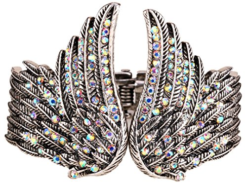 YACQ Women's Guardian Angel Wings Hinged Bangle Bracelets Crystal Costume Jewelry Accessories -