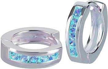 SL-Silver Ohrringe Creolen mit Kristallen Klappcreolen 925 Silber in Geschenkverpackung
