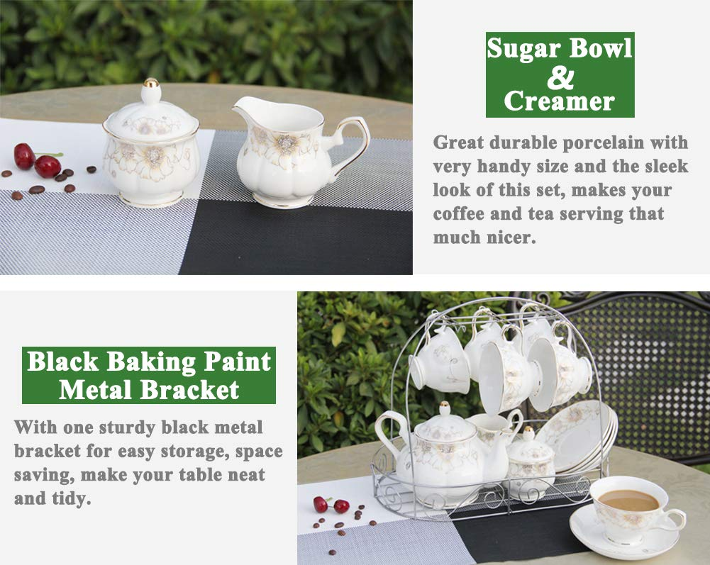 Porcelain Ceramic Coffee Tea Sets 15 Pieces with Metal Holder,Cups& Saucer Service for 6,with Teapot Sugar Bowl Cream Pitcher by CHP (Image #4)