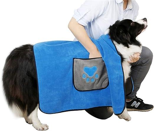 DADYPET Toallas de Baño para Mascotas, Toalla Playa para Perros Gatos Microfibra Súper Suave 100 * 70cm Azul: Amazon.es: Productos para mascotas