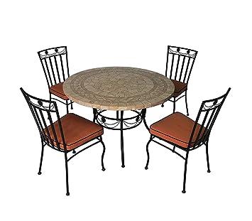 Salon de jardin 4 chaises + 1 table, ensemble de jardin avec 4 ...