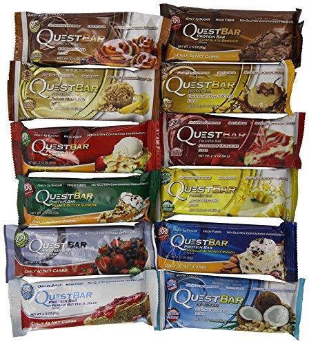 Quest Питание - Задание Бар Разнообразие 2,12 унции-бар (12 бар) (Пункты могут прийти в окне, подтверждая одного аромата, а элементы внутри находятся различные Pack)