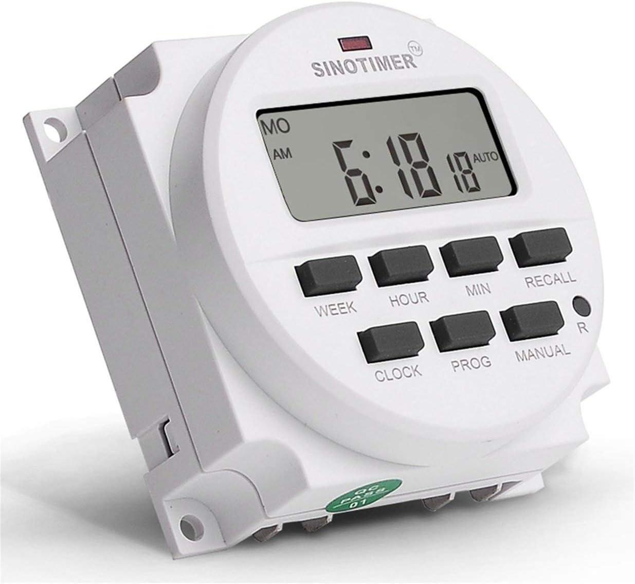 bianco Sairis SINOTIMER 12V settimanale 7 giorni programmabile digitale Rel/è timer Controllo conto alla rovescia Richiamo conto alla rovescia per apparecchio elettrico