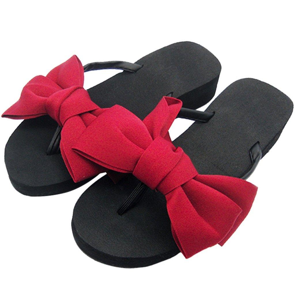 YAnFAn & Pantoletten Slipper Clip Toe Eva Platform Heel Slip-on beiläufige Süße für Frau/Damen/Mädchen Flach/Mid/Wedge Sandale im Sommer Holiday Beach Schwarz mit Roten Bogen  EU 40|Wedge_7cm