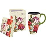 Garden View Flowers Ceramic Coffee Travel Mug with Gift Box by Gifted Living