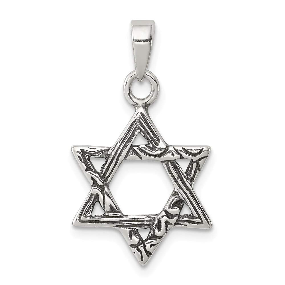 Solid 925 Sterling Silver Antiqued-Style Star of David Pendant Charm 15mm x 20mm