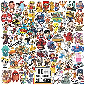 Junkyard Vinyl Waterproof Stickers for Kids, Scrapbooking, waterbottles, Electronic Gadgets. (Pack of 80 Plus Stickers)