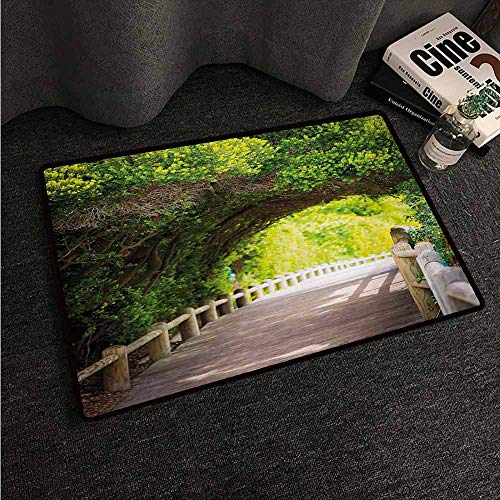 HCCJLCKS Interior Door mat Forest Nature Boardwalk Through Green Archway Bridge Foliage Trees Sunny Summer Day Country Home Decor W16 xL24 Beige Green Brown