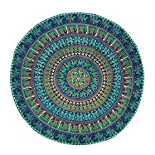 "Handicrunch Mandala Indian Round Tapestry Table Cloth Hippie Beach Throw Yoga Mat 50"" Diameter"