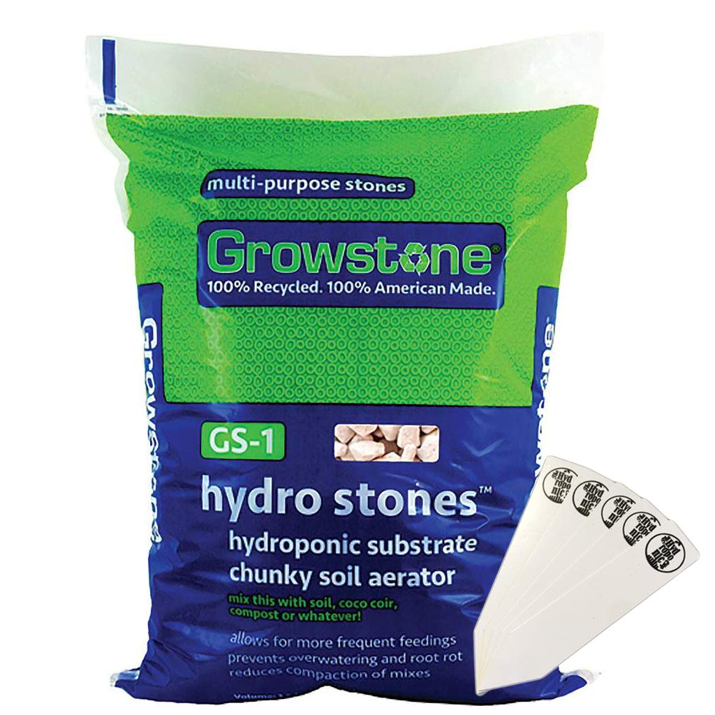 Growstone GS-1 Hydro Stones Hydroponic Substrate, Chunky Soil Aerator, Soil Amendment (1.5 cu ft Bag) + THCity Stakes by The Hydroponic City