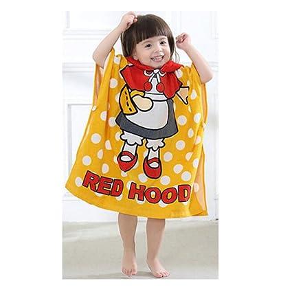 Juleya Toalla de playa para bebé con capucha Poncho Kids Albornoz de algodón (Red Hat