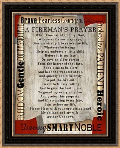 Firefighters Prayer - Framed Art Print - 10x13 Fine Art Print by Wolk, Lisa in Distressed Classic Black Picture Frame - Inspirational Signs (16.5 Inch Fine Art Paper)