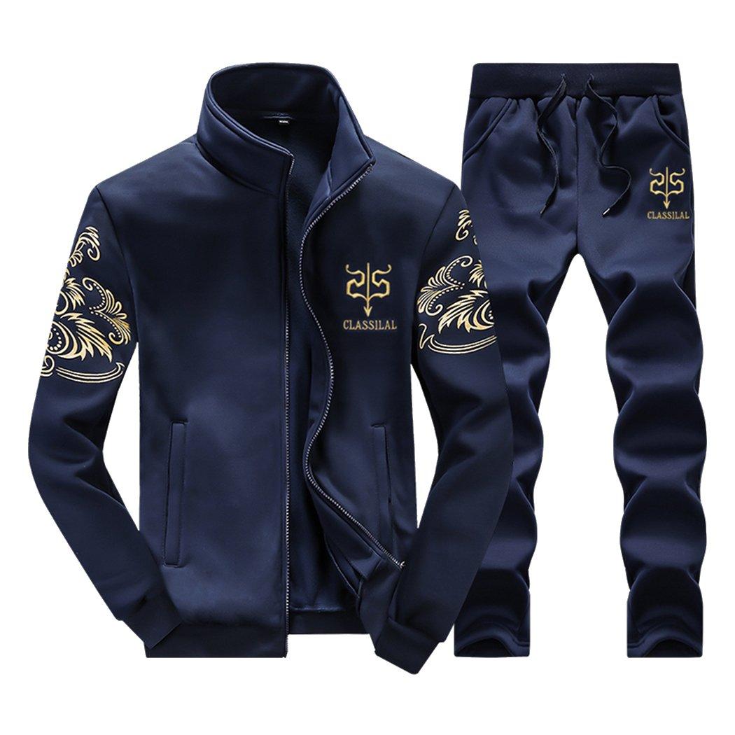 Sun Lorence Men Casual Athletic Tracksuit Sports Sets Baseball Style Jacket & Pants Darkblue L